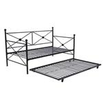 全尺寸黑色金属沙发床框架,带双滚轮T