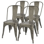 Set of 4 - Stackable Modern Cafe Bistro Dining Side Chair in Gun Metal Finish