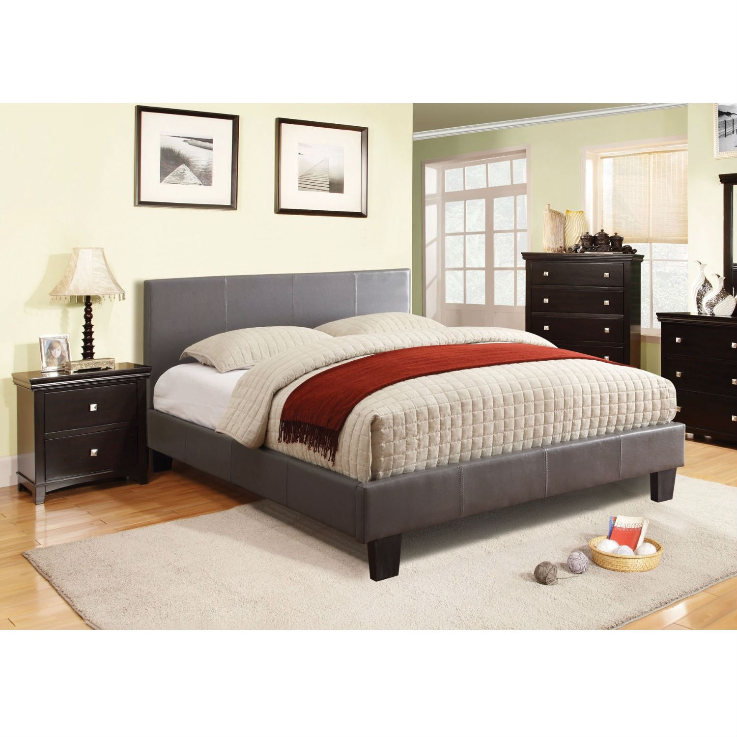 Queen Size Platform Bed With Headboard Upholstered In Gray Faux Leather Fastfurnishings Com
