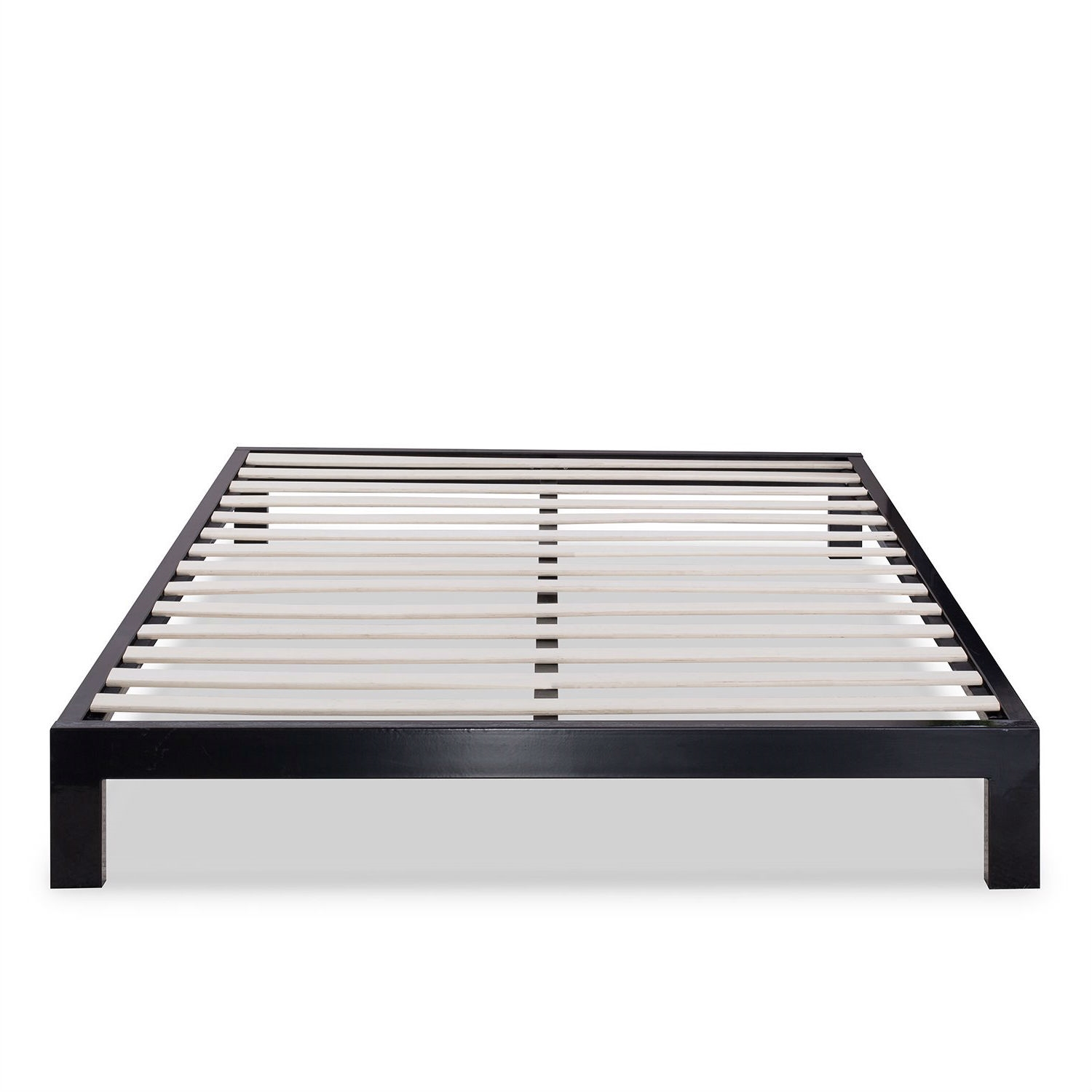 Full Size Contemporary Black Metal Platform Bed With Wooden Mattress Support Slats Fastfurnishings Com
