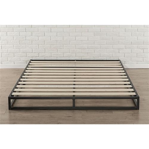 full size 6 inch low profile metal platform bed frame with wooden slats. Black Bedroom Furniture Sets. Home Design Ideas