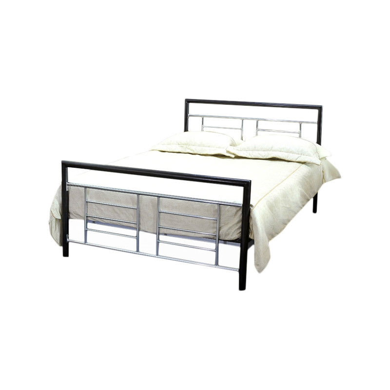 full size black metal platform bed with headboard and footboard with silver accents. Black Bedroom Furniture Sets. Home Design Ideas