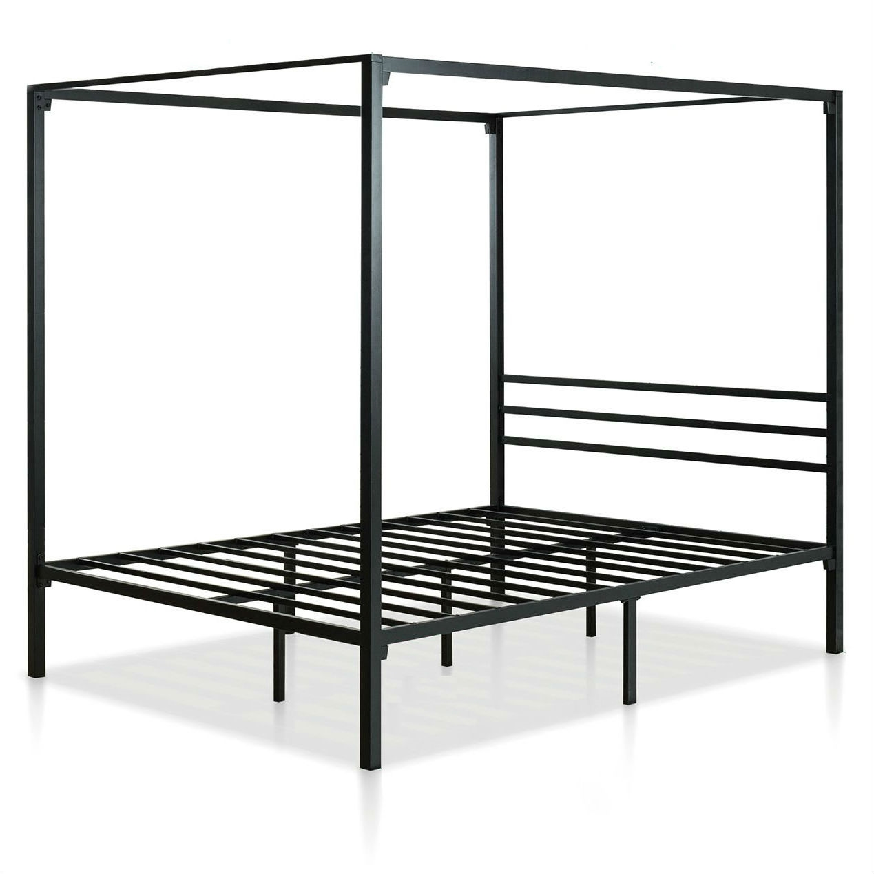 Full Size Modern Black Metal Canopy Bed Frame