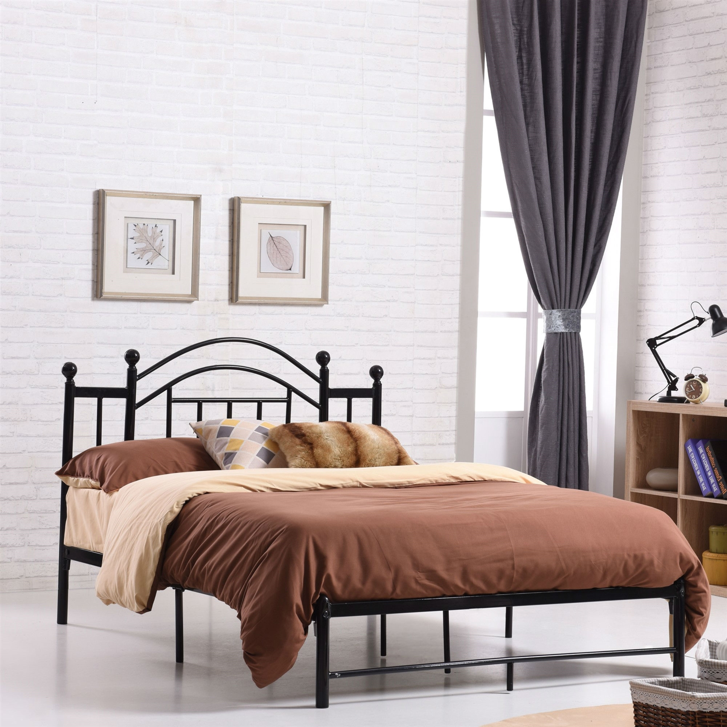 full size black platform bed frame with metal slats and headboard - Black Platform Bed Frame