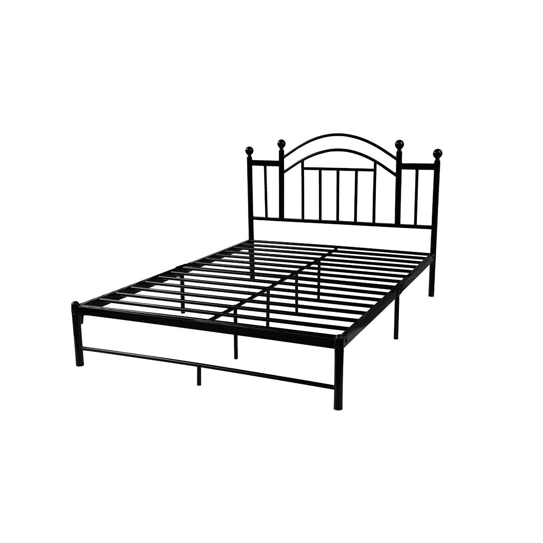Full size Black Platform Bed Frame with Metal Slats and Headboard ...