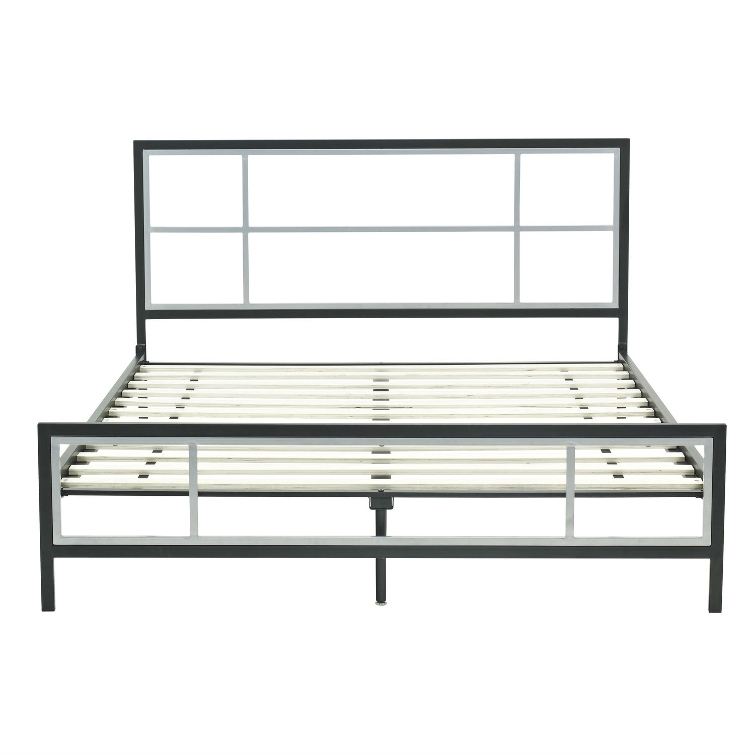 full size modern metal platform bed fame with headboard footboard and wood slats - Bed Frame For Headboard And Footboard