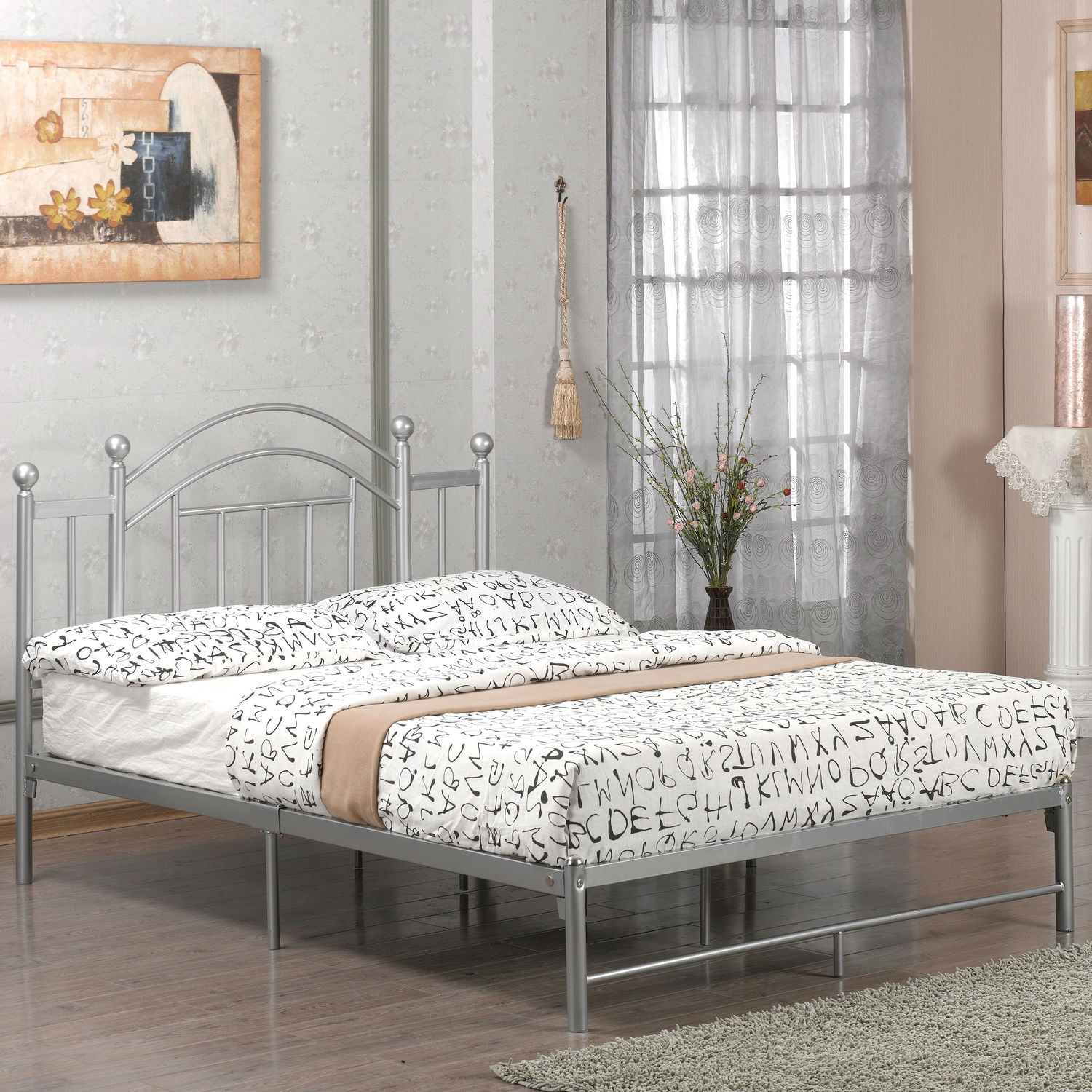 Full Size Metal Platform Bed Frame With Headboard And