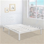 Full size Heavy Duty Metal Platform Bed Frame in White
