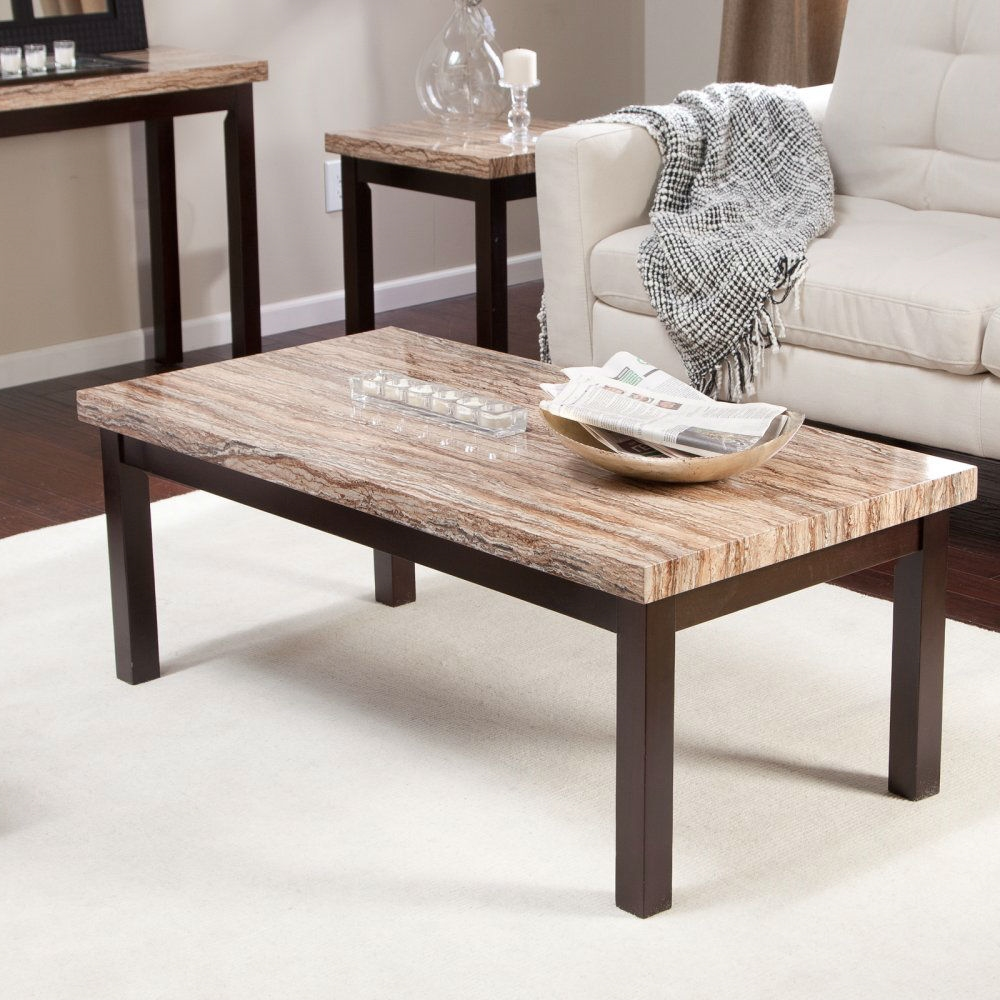 Contemporary Espresso Solid Wood Coffee Table With Faux Marble Top