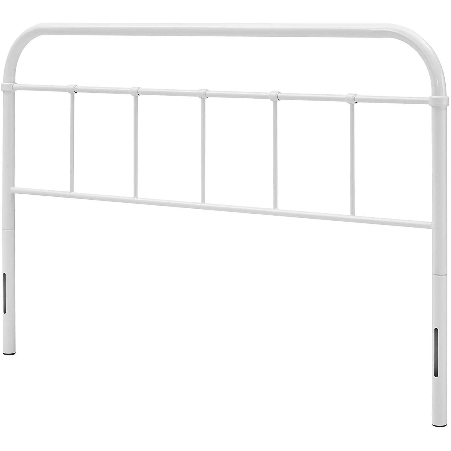 Full Size Vintage White Metal Headboard With Round Corners