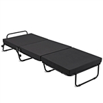Folding Rollaway Guest Bed Frame Ottoman with Mattress and Casters
