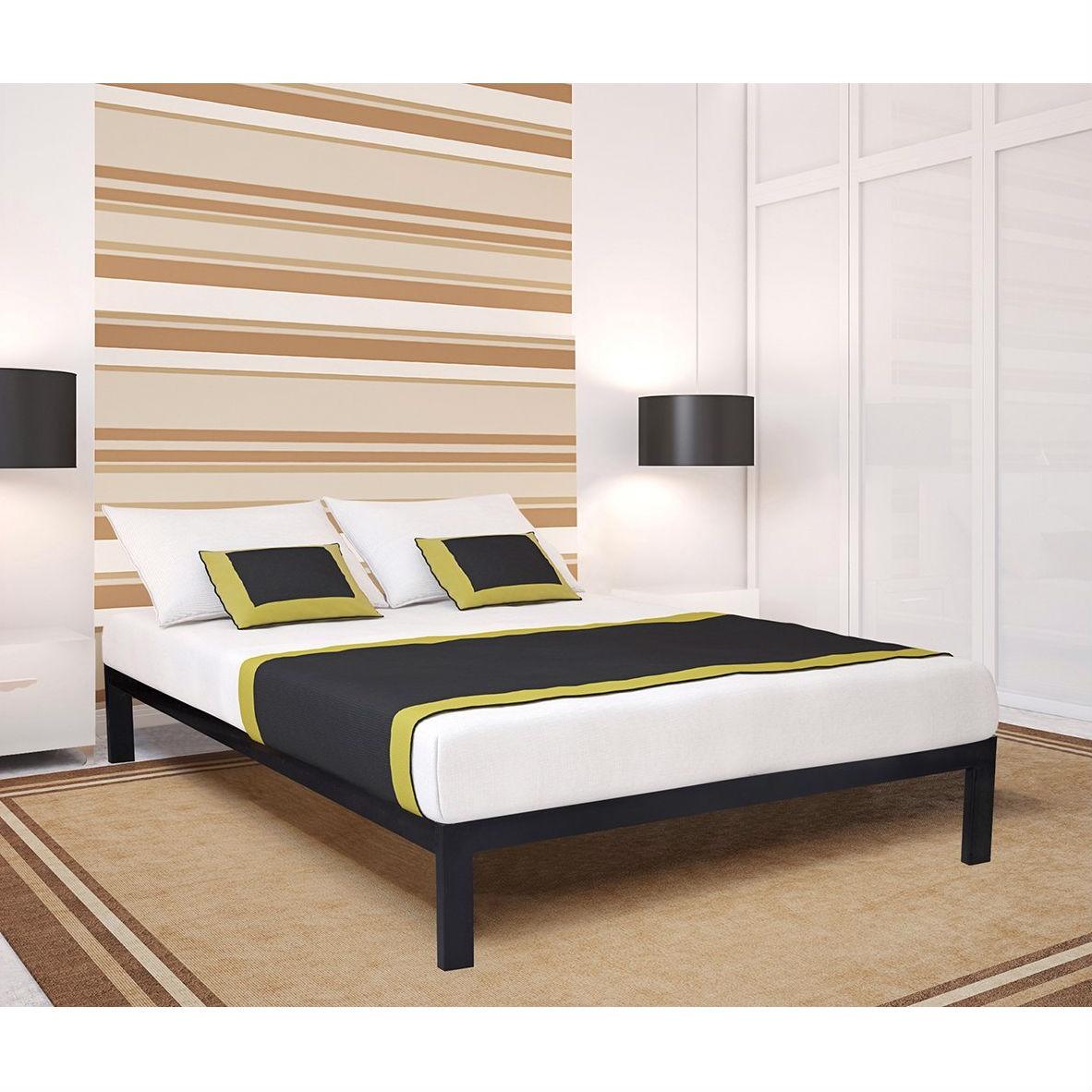 Full size Simple Black Metal Bed Frame Platform with Wooden Slats