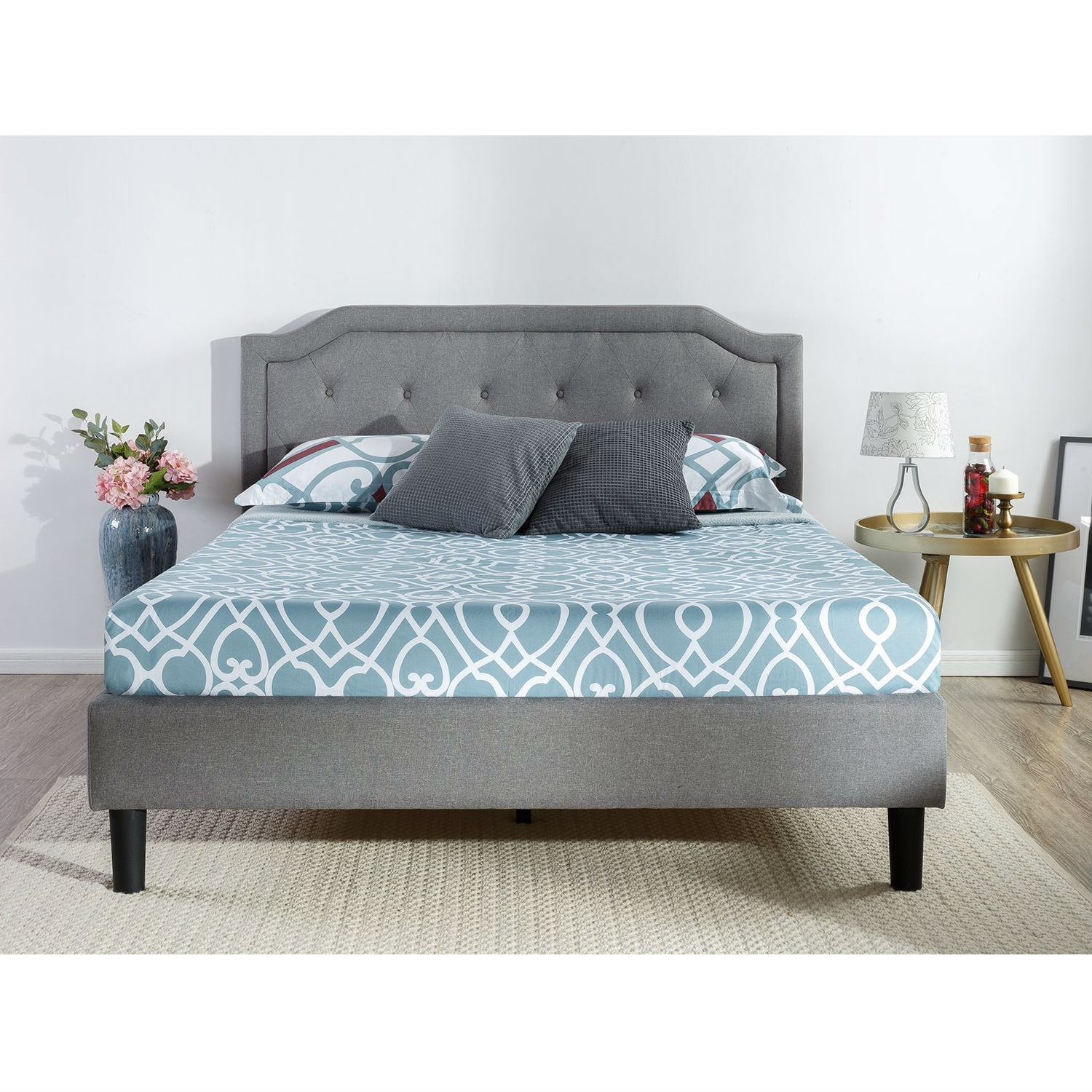 Full Size Grey Upholstered Platform Bed With Clic On Tufted Headboard