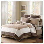 Full / Queen Brown Ivory Tan Cream 7 Piece Quilt Coverlet Bedspread Set