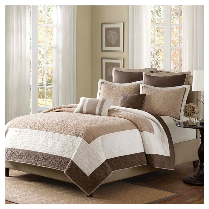 Full / Queen Brown Ivory Tan Cream 7 Piece Quilt Coverlet