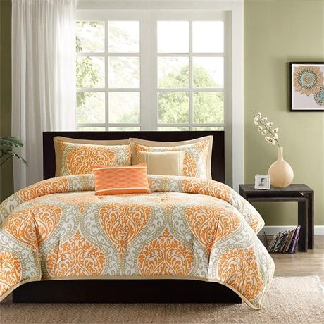 Full size Orange Damask Comforter Set with 2 Shams and 2 Decorative Pillows