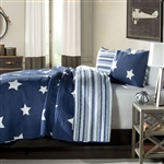 Full / Queen Navy Star And Stripes At Night Quilt Coverlet Bedspread Set