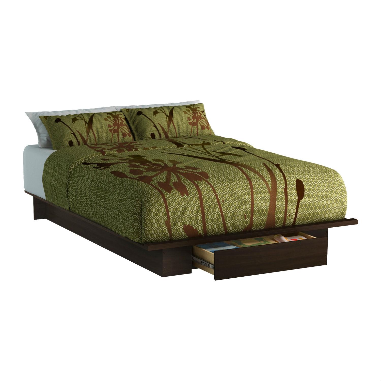Queen size Modern Platform Bed Frame with Bottom Storage Drawer in