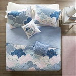 Full/Queen Kids Blue Pink Unicorn Clouds Quilt Coverlet Bedspread Set