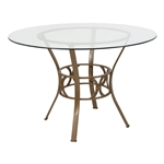 圆形英寸透明玻璃顶部餐桌,带哑光金色金属框架