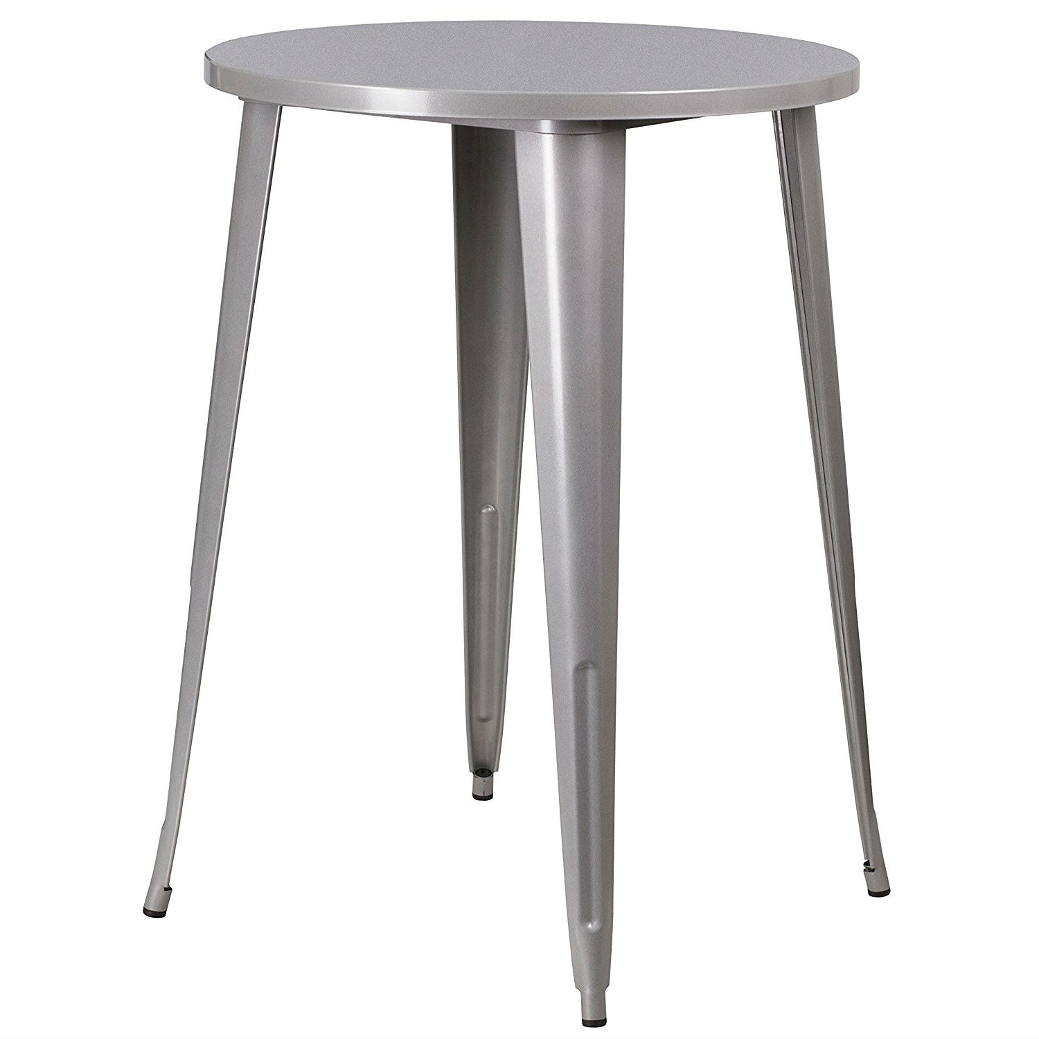 Silver Patio Furniture.Outdoor 30 Inch Round Metal Cafe Bar Patio Table In Silver