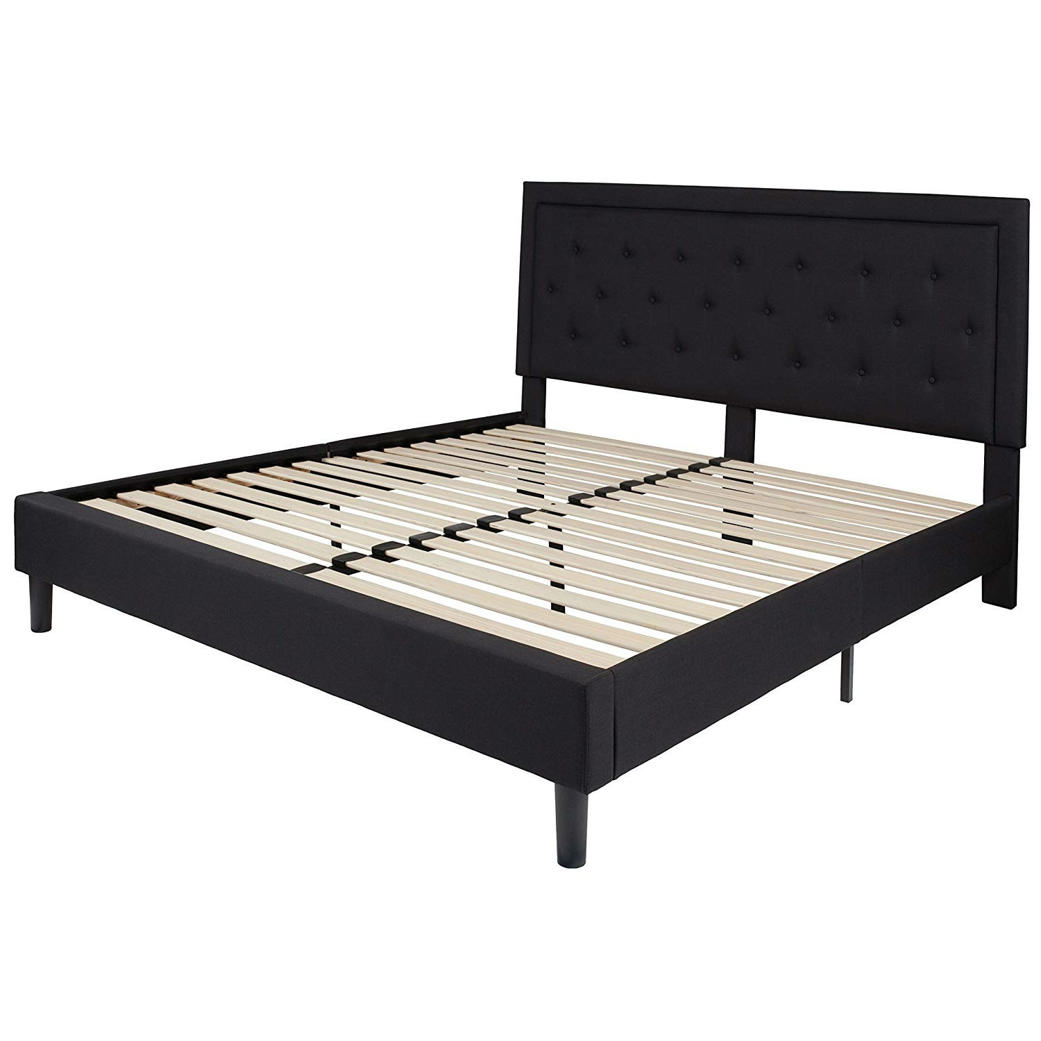 King Black Fabric Upholstered Platform Bed Frame With Button Tufted Headboard Fastfurnishings Com