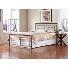 Full size Contemporary Metal Bed in Silver / Cherry Finish