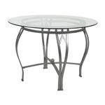 圆形英寸带钢架的透明钢化玻璃餐桌
