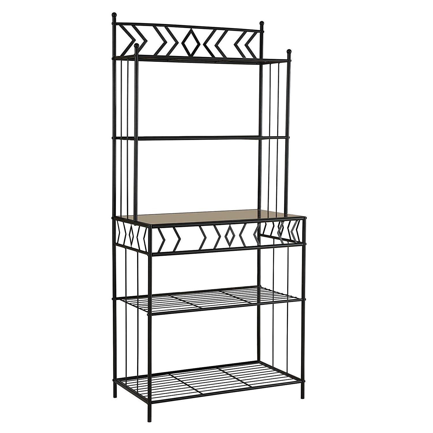 kitchen bakers rack with metal and glass shelves in black rh fastfurnishings com Glass and Metal Bakers Rack metal bakers rack with glass shelves