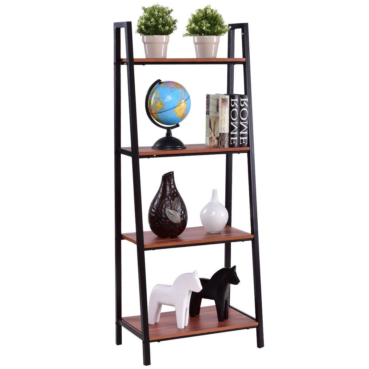 Ladder Style 4 Shelf Bookcase In Black Steel Walnut Wood Finish