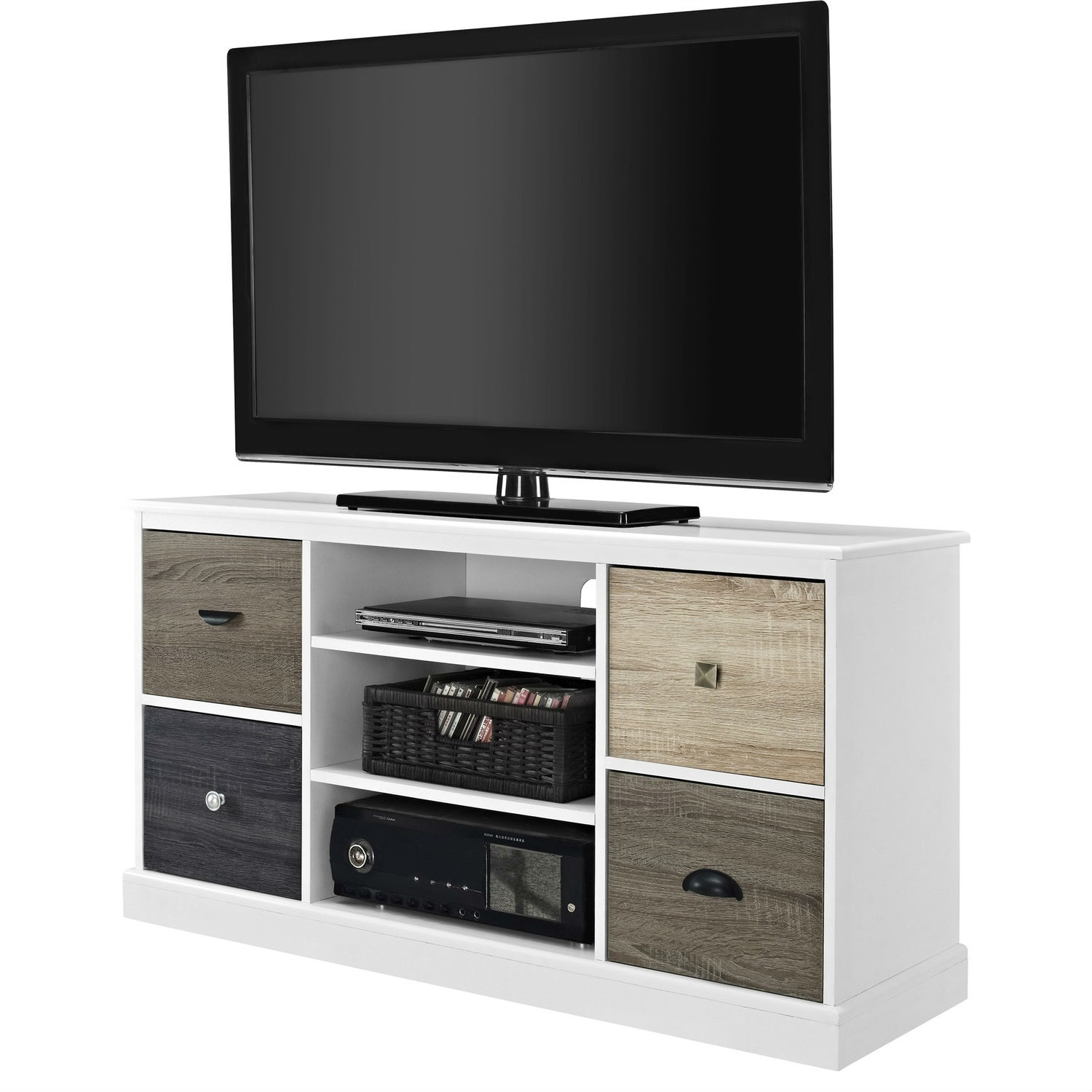 White Wood Finish Tv Stand With Multi Wood Grain Finish Drawer Door