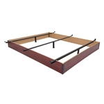 Full size Hotel Style Metal Bed Frame Base with Cherry Wood Floor Panels
