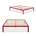 Full size 14-inch High Platform Bed with Red Metal Frame and Wooden Slats