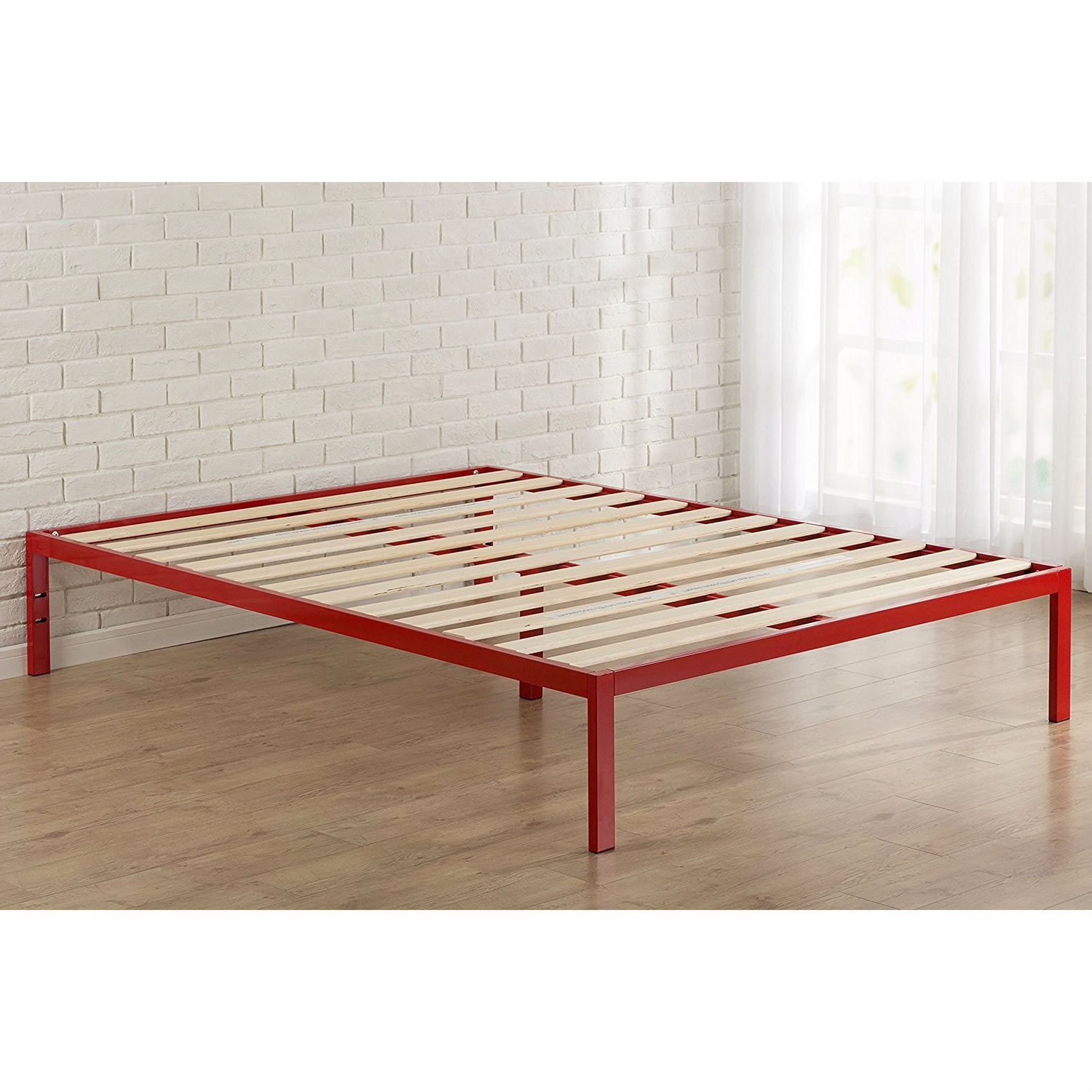 Full size 14-inch High Platform Bed with Red Metal Frame and Wooden ...
