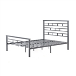 Full Metal Platform Bed Frame with Headboard in Modern Titanium Silver Finish