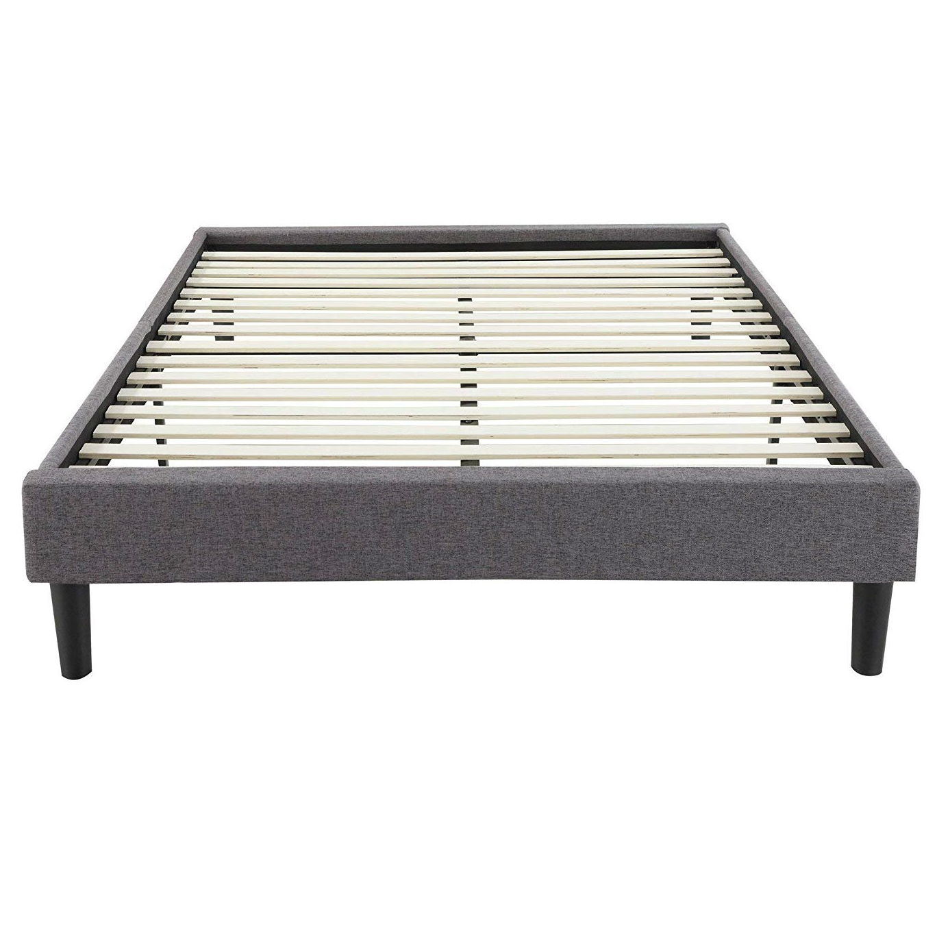Full Size Upholstered Platform Bed Frame With Padded Grey Upholstery Fastfurnishings