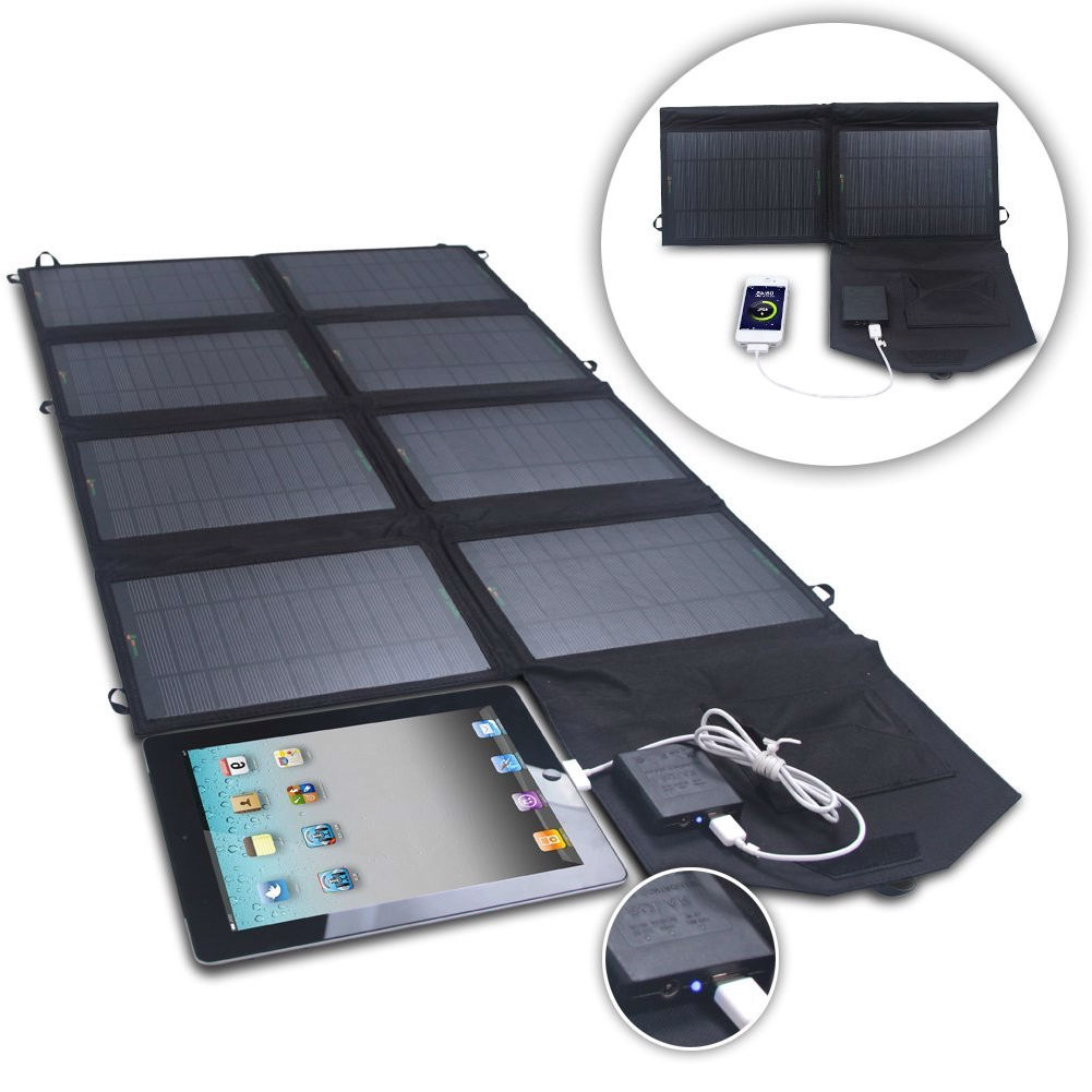 52 Watt 24v Dual Output Folding Solar Panel Battery Charger For Phone Tablet Fastfurnishings