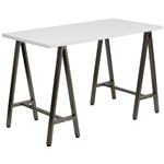 Modern White Top Writing Table Computer Desk with Brown Metal Legs