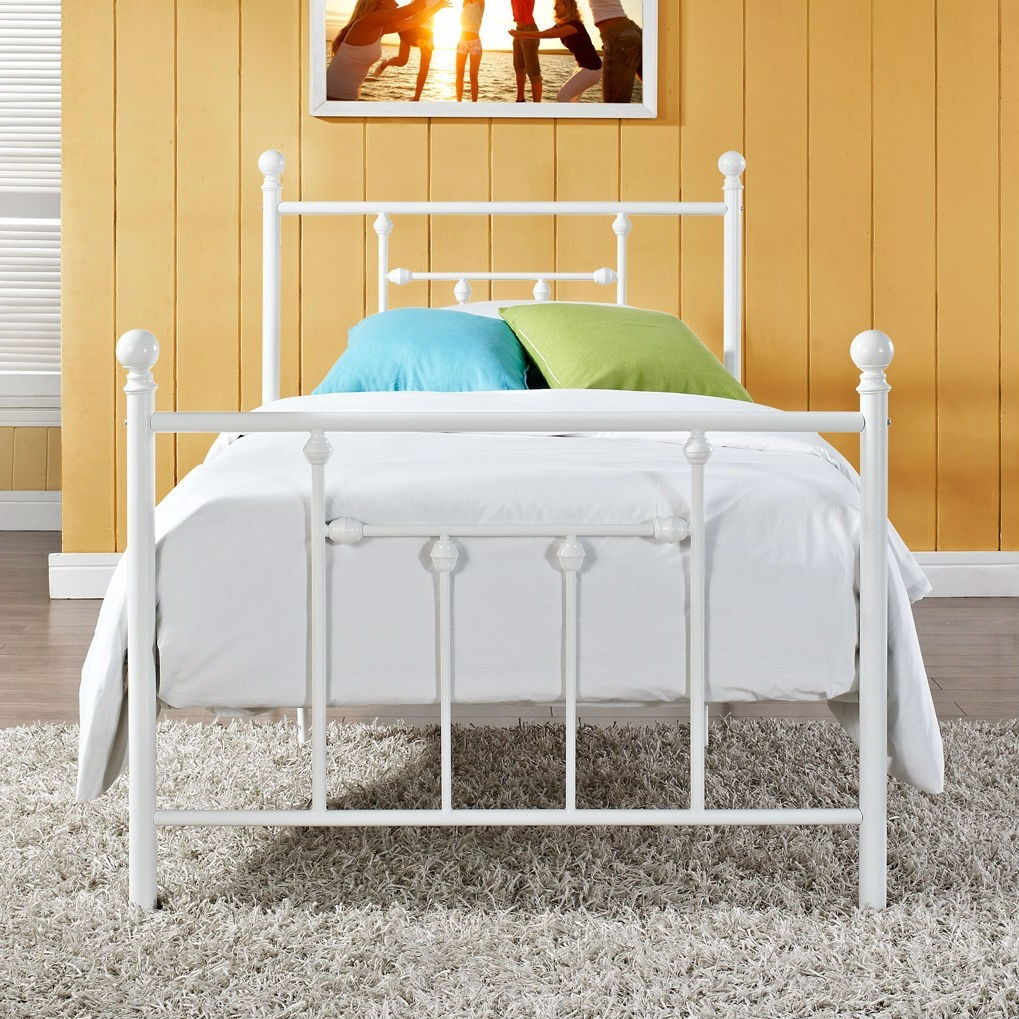 full size white metal platform bed with headboard and footboard. Black Bedroom Furniture Sets. Home Design Ideas