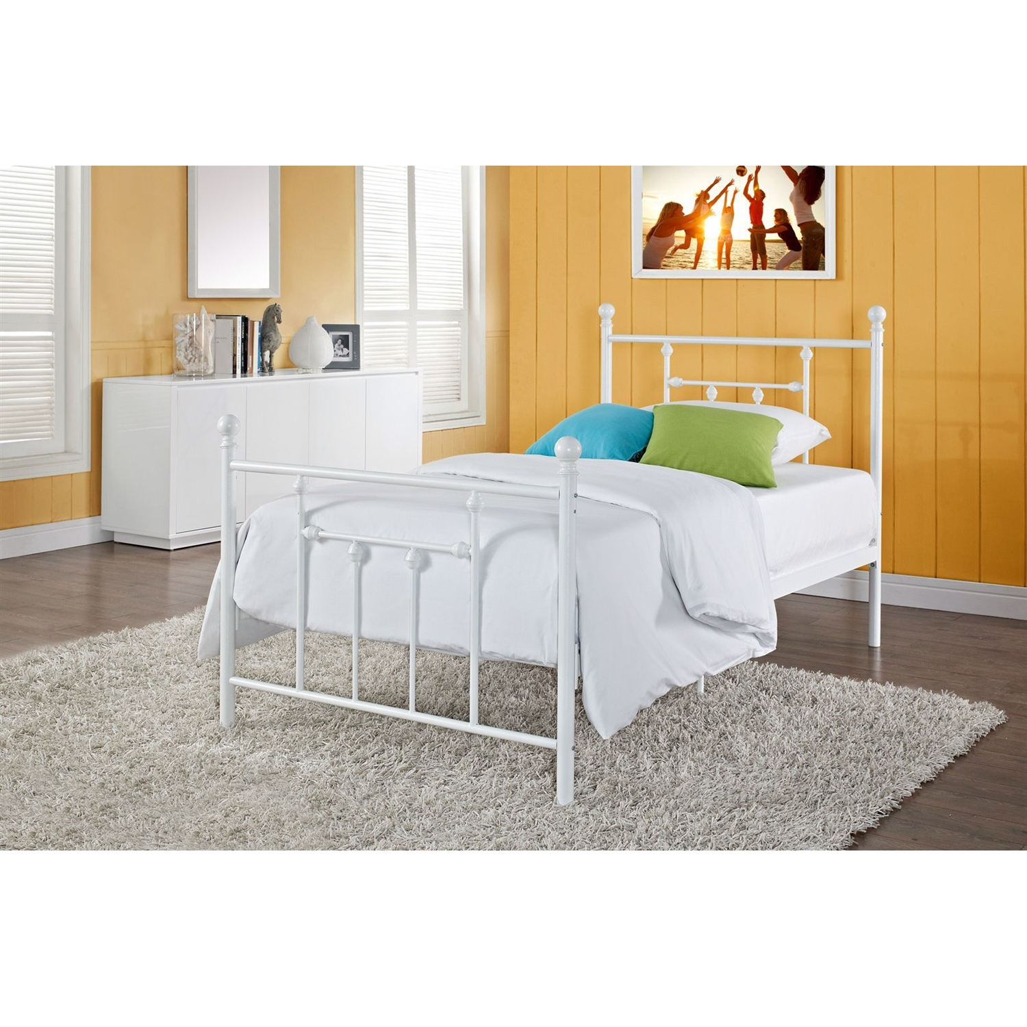 Full size White Metal Platform Bed with Headboard and Footboard ...