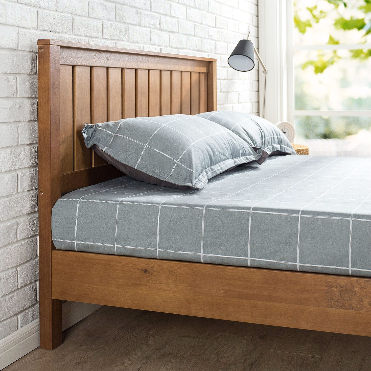 Full Size Solid Wood Platform Bed Frame With Headboard In Medium Brown Finish Fastfurnishings Com