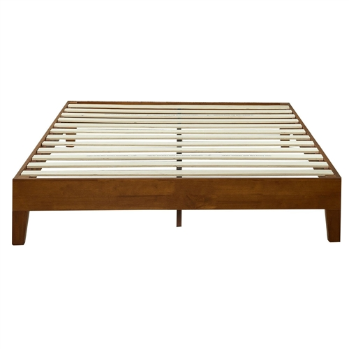 full size low profile platform bed frame in cherry wood finish. Black Bedroom Furniture Sets. Home Design Ideas