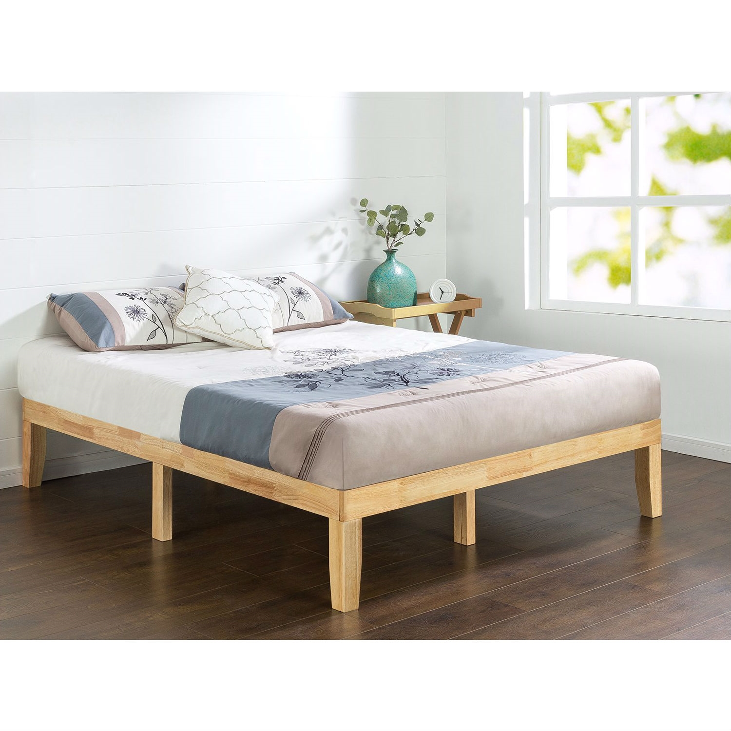 Full size Solid Wood Platform Bed Frame in Natural Finish ...