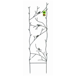 4-Ft High Garden Trellis with Metal Birds Branch Design in Espresso