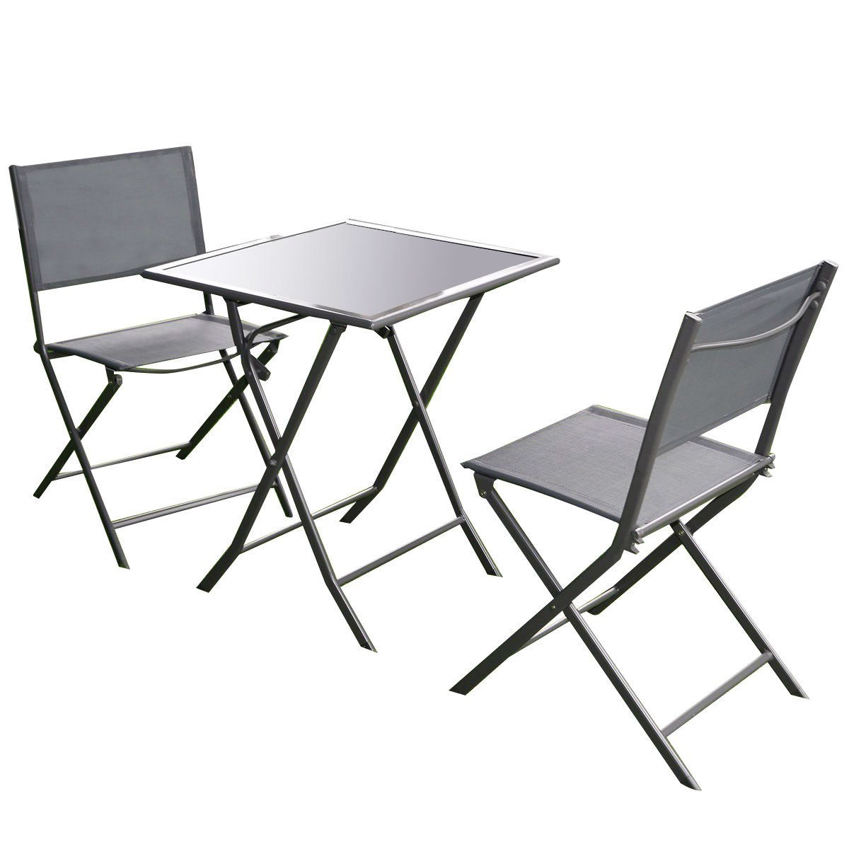 - Outdoor 3-Piece Patio Furniture Folding Table Chair Set