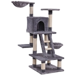 Gray 46 Inch Ladder Cat Tree Condo with Scratching Posts