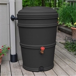 45-Gallon Rain Barrel with Spigot and Rain Gutter Water Diverter in Charcoal