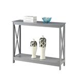 带有底部储物架的灰色木质控制台沙发桌