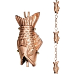 Pure Polished Copper 8.5 Foot Rain Chain with 4 Fish