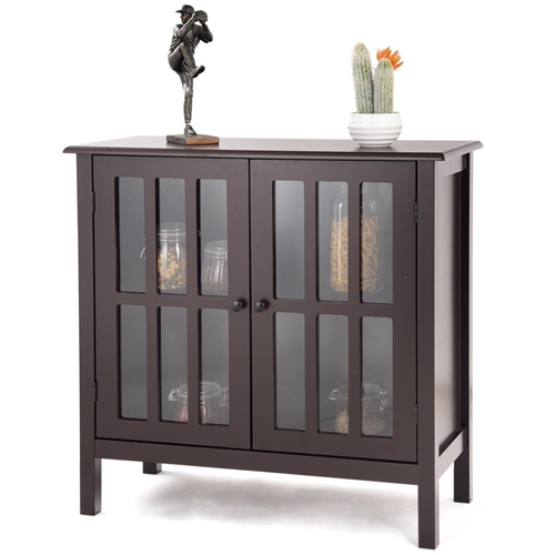 Brown Wood Sideboard Buffet Cabinet with Glass Panel Doors
